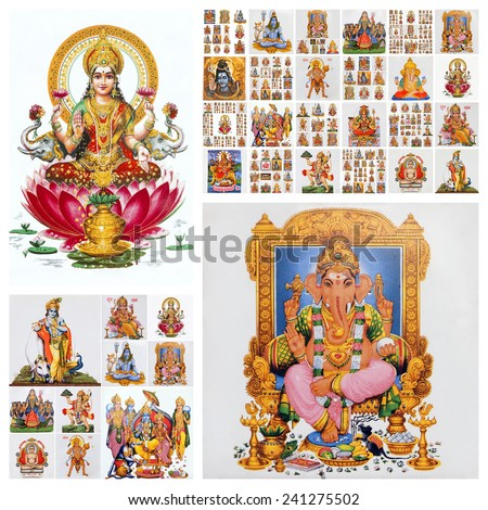 hindu gods collage ( Lakshmi,Ganesha and many others ) - stock photo