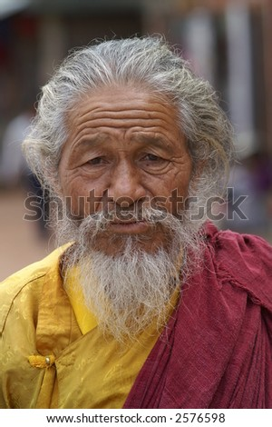Hindu Holy Man in Nepal - stock photo
