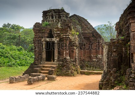 Hindu Temple at My Son, Vietnam built during Champa Kingdom - stock photo