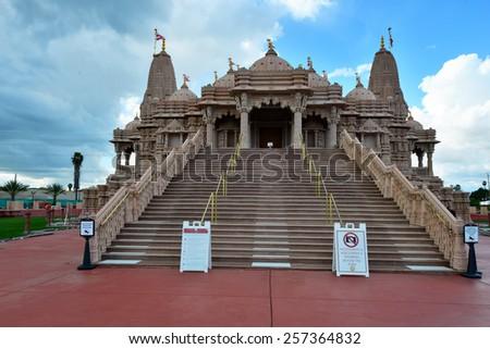 Hindu temple BAPS Shri Swaminarayan Mandir - stock photo