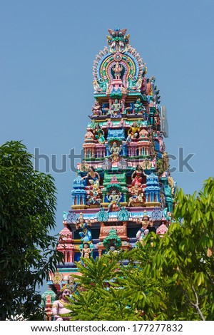 Hindu temple in the center of Georgetown, Penang Island, Malaysia - stock photo