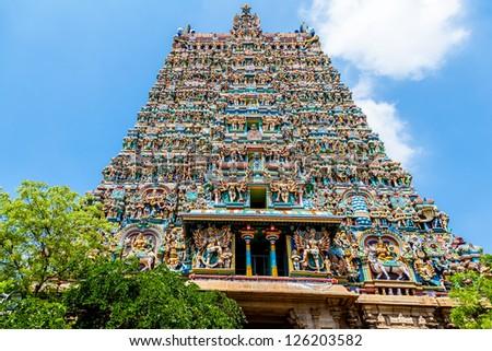 Hindu temple, Meenakshi, Madurai, Tamil Nadu, India - stock photo