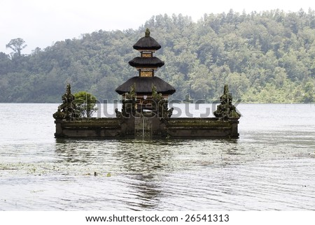 Hinduism temple Pura Ulundanu Betaran, flood pagoda on lake, Bali, Indonesia (2)