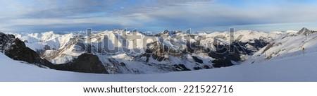Hintertux panorama view, Austria, Alpen - stock photo