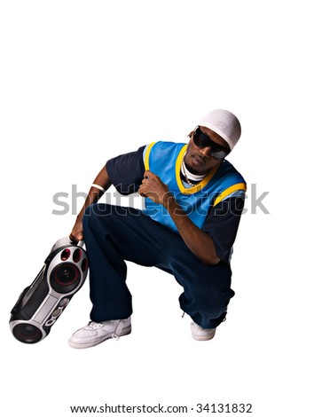 Hip-hop black young man on white background