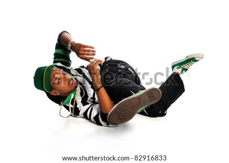 Hip hop breakdancer performing isolated over white background - stock photo