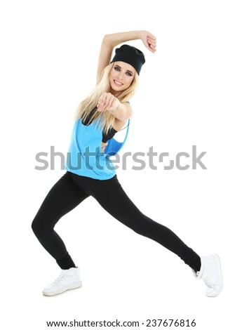 Hip hop dancer dancing isolated on white - stock photo