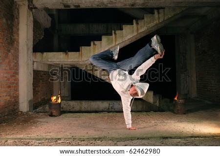 hip-hop dancer flying in dance - stock photo