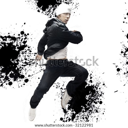 Hip Hop dancer jumping, over abstract splash background - stock photo