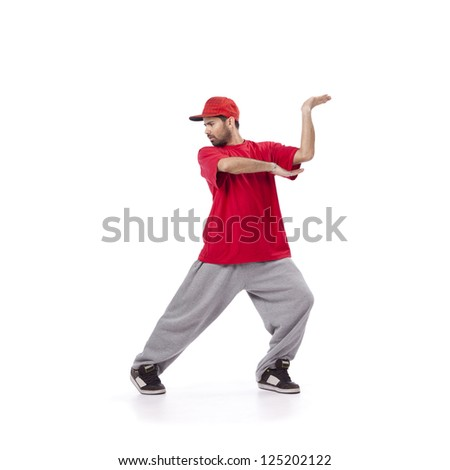 hip hop dancer performing move isolated over white background - stock photo
