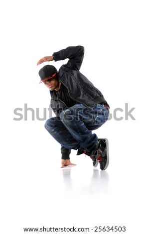 Hip hop man dancing over a white background - stock photo