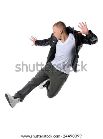 Hip hop man jumping isolated - stock photo