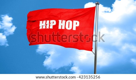 hip hop music, 3D rendering, a red waving flag - stock photo