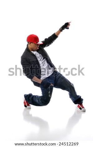 hip-hop style dancer performing against a white background - stock photo