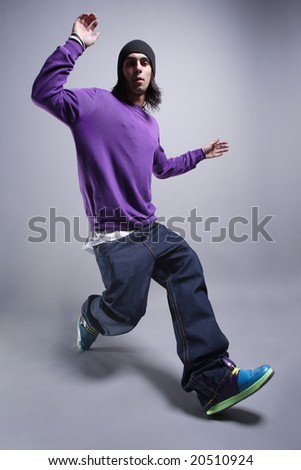 hip-hop style dancer posing - stock photo