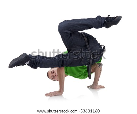 hip-hop style dancer posing on isolated white background