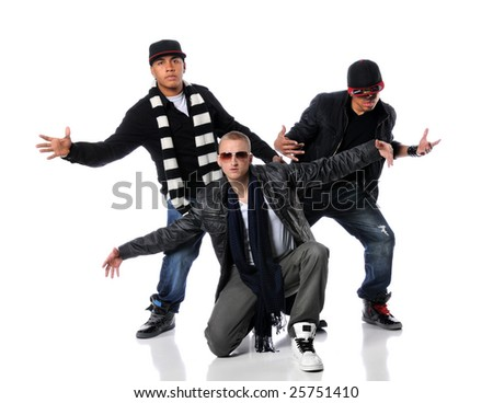 Hip Hop style men dancing over a white background - stock photo