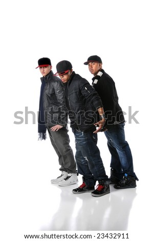 Hip hop young men performing a dance isolated over a white background - stock photo
