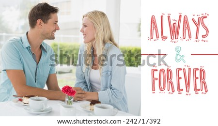 Hip young couple having desert and coffee together against always and forever - stock photo