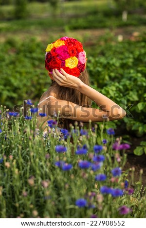 Hippie - be close to nature concept woman - stock photo