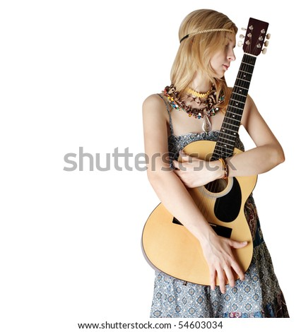 hippie girl with the guitar isolated on white background