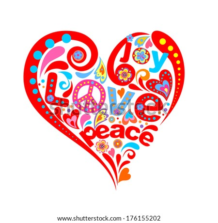 Hippie heart. Raster copy - stock photo