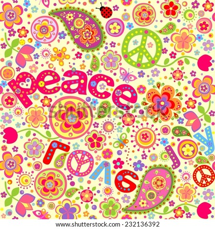 Hippie wallpaper. Raster copy - stock photo