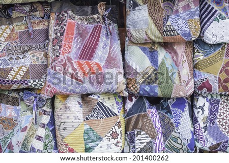 Hippies fabric bags in trade, fashion and complement - stock photo