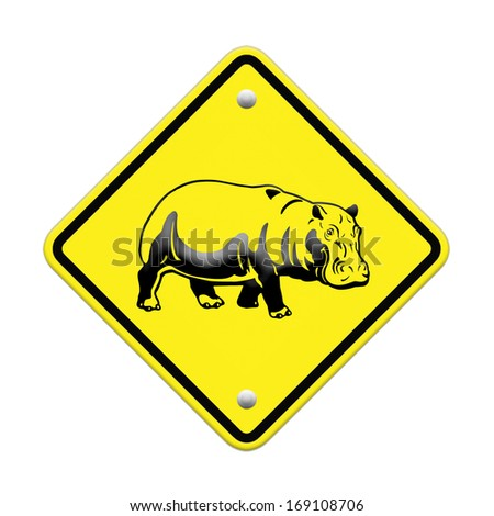 hippo  warning sign on the road