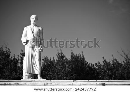 hippocrates statue, black and white - stock photo