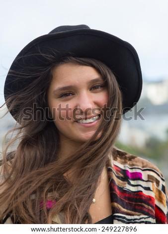 Hippy girl in San Francisco - stock photo