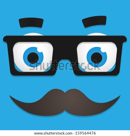 Hipster Avatar. Geek Glasses And Mustache. Cartoon face - stock photo