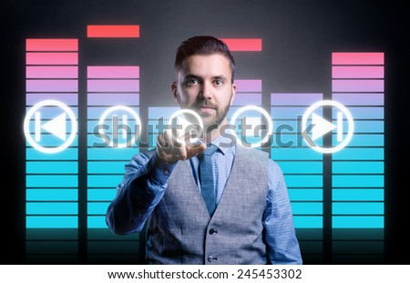 Hipster businessman with virtual screen   - stock photo