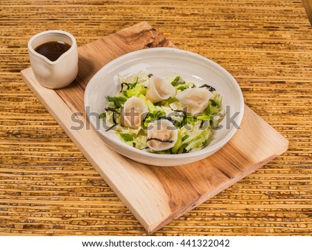Hipster Cafe Bistro Menu: Dumplings with Sauce - stock photo