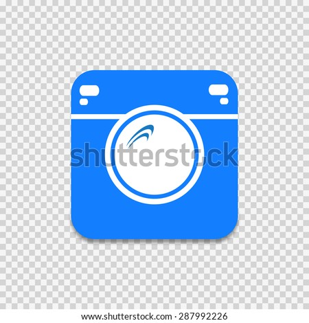 Hipster camera icon  illustration on gray checkered background - stock photo