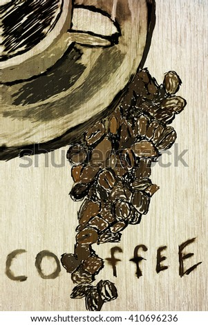 hipster coffee vintage drawings for menu design or poster, vertical flat lay orientation - stock photo