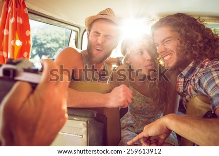 Hipster friends on road trip on a summers day - stock photo