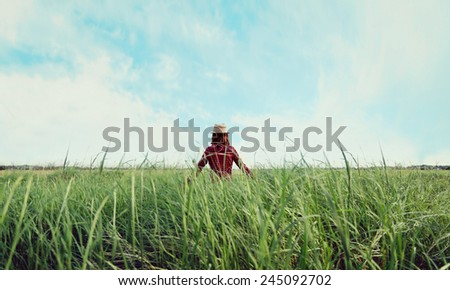 Hipster girl in straw hat walking on summer meadow, rear view. Concept of happiness and carefree - stock photo