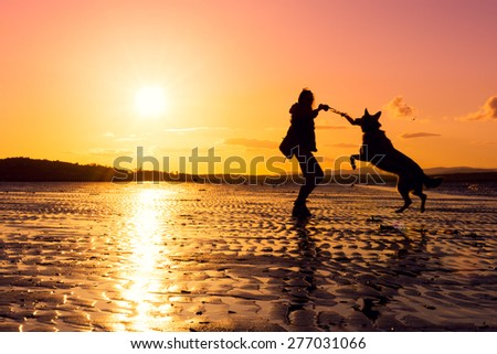 Hipster girl playing with dog at a beach during sunset, silhouettes with vibrant colors - stock photo