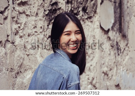 hipster girl - soft focus with vintage film filter - stock photo