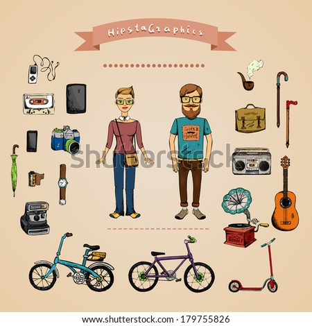 Hipster infographic concept with man, girl and accessories isolated on background