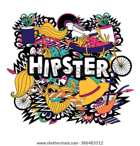 Hipster lifestyle symbols composition flat poster - stock photo