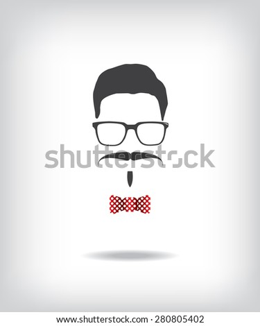 Hipster man illustration - stock photo