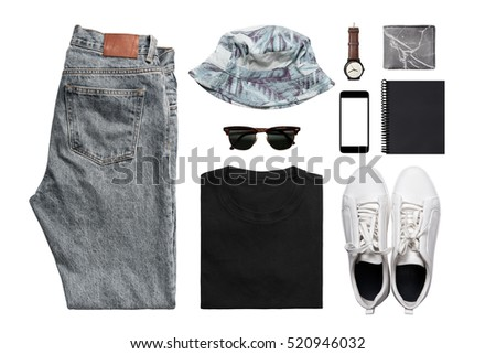 Hipster Man's clothing collections isolate on white(shirt,jean,wallet,watch,sunglasses,phone,shoe,book,hat) with clipping path