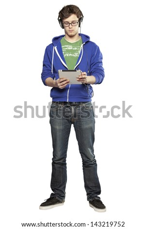 Hipster man watching video on tablette against white background - stock photo