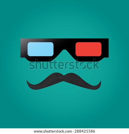 Hipster mustache and cinema glasses - stock photo