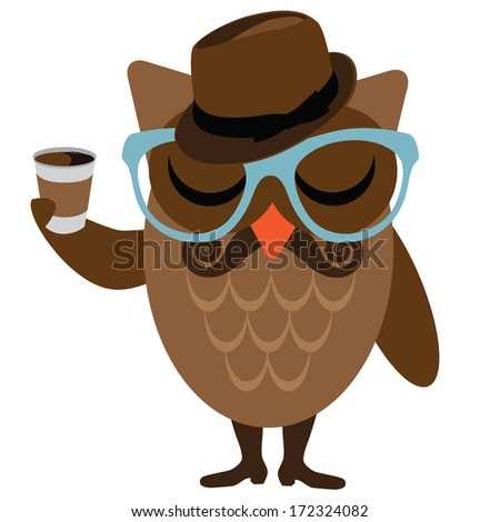Hipster owl.  - stock photo