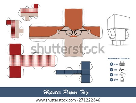 Hipster paper toy with assembly instruction.  - stock photo