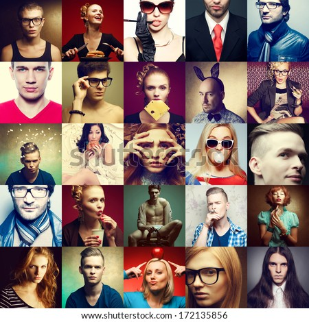 Hipster people concept. Collage (mosaic) of fashionable men, women with stylish accessories, glasses, healthy and unhealthy food & drinks, wearing trendy clothes. Close up. Studio shot - stock photo