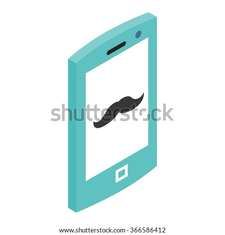 Hipster phone 3d icon isolated on a white background - stock photo